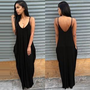 Black Boho Loose Strappy Dress